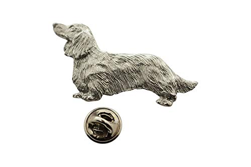 Sarah's Treats & Treasures Long Haired Dachshund Pin ~ Antiqued Pewter ~ Lapel Pin