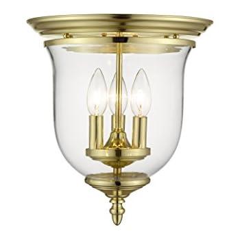 Amazon.com: 3 Bell Jar pequeña luz semi Flush Mount acabado ...