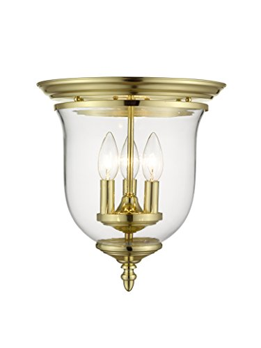 Livex Lighting 5021-02 Legacy 3-Light Ceiling Mount, Polished Brass