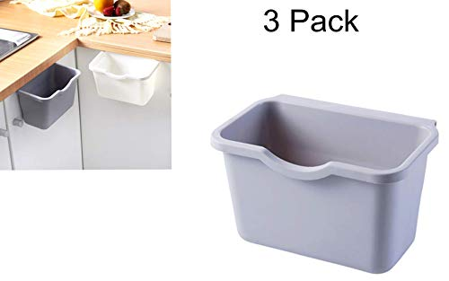 sunliveus 3 Pack Hanging Kitchen Wastebaskets Multipurpose Little Trash Compost Container Recycle Waste Garbage Bins Bowls for Kitchen, Office, Bathroom, Bedroom Drawers Cabinets Storage (Grey) (Trash Bowl)