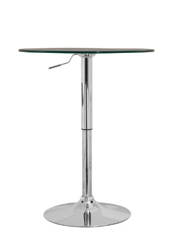 William's Home Furnishing Adjustable Glass Bar Table - Round Glass Bar