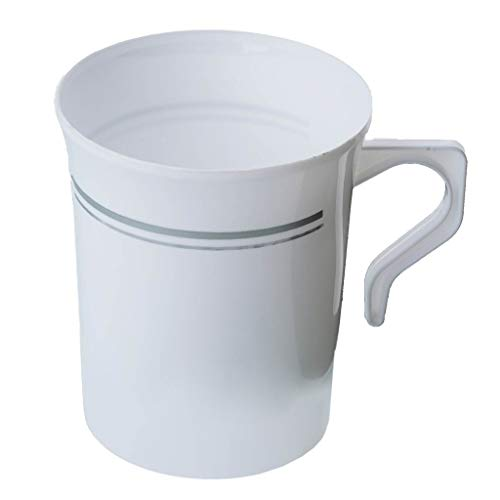 50 Heavyweight Disposable White Plastic 8 oz. Coffee Mugs with Silver Trim | Tea, Cappuccino, Espresso Cups with Handles (50-Pack) by Bloomingoods ()