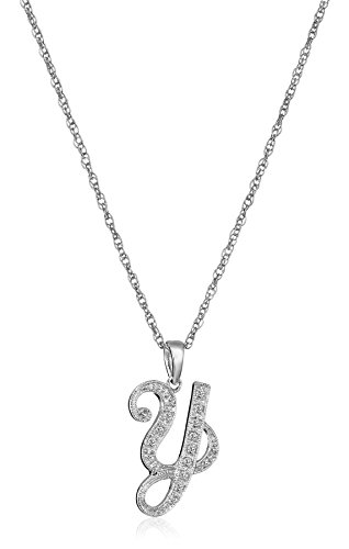 Sterling Silver Initial Y Diamond Pendant Necklace (0.05 cttw, I-J Color, I2-I3 Clarity), 18