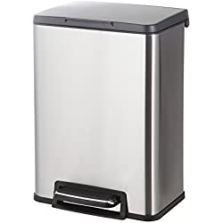 HomeZone 20-Liter Stainless Steel Rectangular Step Trash Can