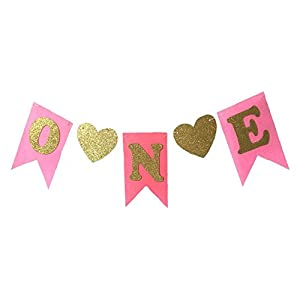"""1st Birthday Girl Baby Tutu for High Chair Decoration and""""ONE"""" Pennant Happy Birthday for Highchair"""