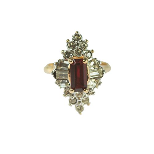 Providence Vintage Jewelry 1970's Ruby and Clear Swarovski Crystals 18k Yellow Gold Plated Ring ()