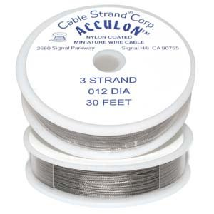 Acculon Tigertail Beading Wire Fine 3 Strand .012 30ft 42363