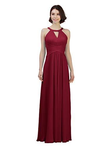 Alicepub Keyhole Bridesmaid Dress Long Formal Evening Prom Gown for Wedding Maxi, Jester Red, US4 (Jester Cut Out)