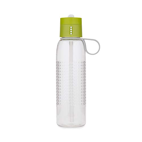 Joseph Joseph Dot Active Hydration-Tracking Bottle with Carry Loop and Straw Counts Water Intake On Lid, 25 oz, Green