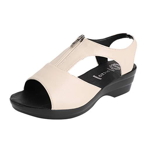 Toimothcn Women's Zipper Wedge Sandals Mesh Stitching Front Open Toe Casual Dress Shoes(Beige1,US:5)