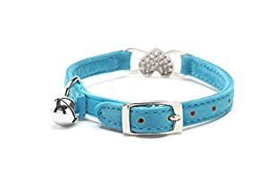 Heart Bling Cat Collar with Safety Belt and Bell 8-11 Inches