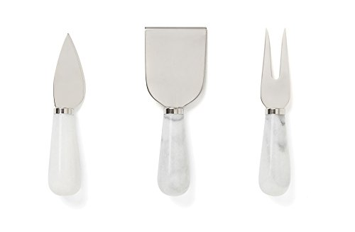 Fox Run 48736 Premium 3-Piece White Marble Cheese Knife Set, 1.5 x 4.25 x 6.75 inches, ()