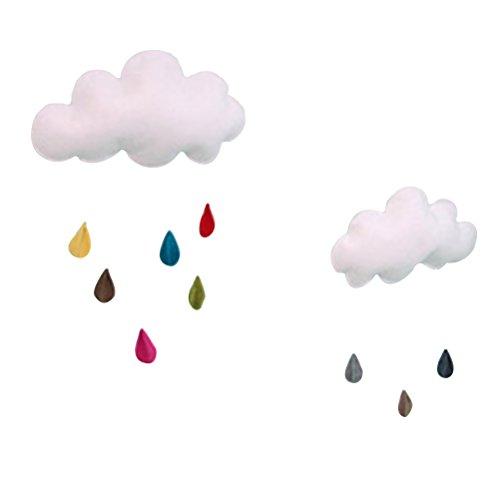 OULII Cloud Raindrop Hanging Ornament DIY Pendant for Baby Shower Kids Room (Rain Confetti)