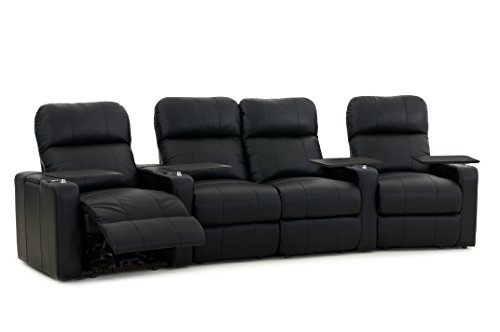 Octane Seating Turbo XL700 Home Theater Seats Black Bonded Leather - Manual Recline - Curved Row with Loveseat - Lighted Cupholders - Storage Arms - Memory Foam