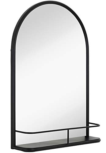 Hamilton Hills Rounded Top Metal Shelf Mirror Entryway Vanity Sink Holder Premium -