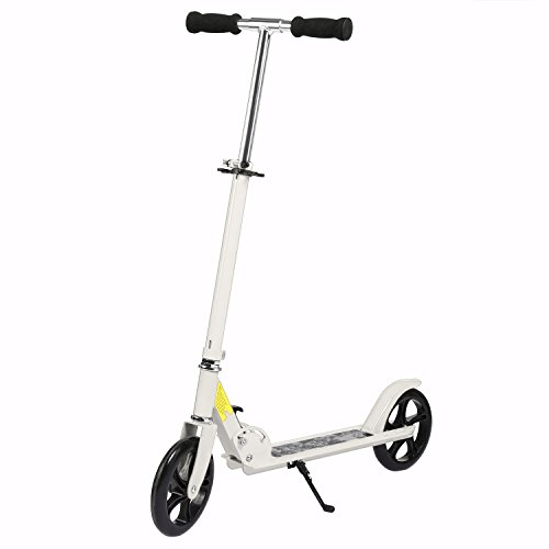 New Generation Alloy Kick Scooter for Teens Adult with 2 Large 200MM Wheels,Height Adjustable Folding Frame/Rear Mudguard, Rear Brake/Suspension (White-Upgrade 2)