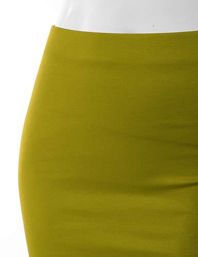 0bcbd6116 Doublju Stretch Knit Midi Pencil Skirt Back Slit Women Plus Size Mustard X- Large