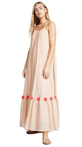 Cleo Maxi Dress - Sundress Women's Cleo Dress, Poudre/Neon Coral, Off White, XS/S