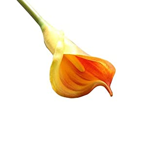 MARJON FlowersArtificial Fake Flowers Leaf Calla Lily Floral Wedding Bouquet Party Home Decor (Orange) 14