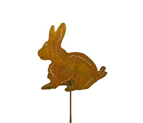 Rabbit Rusty Metal Garden Stake