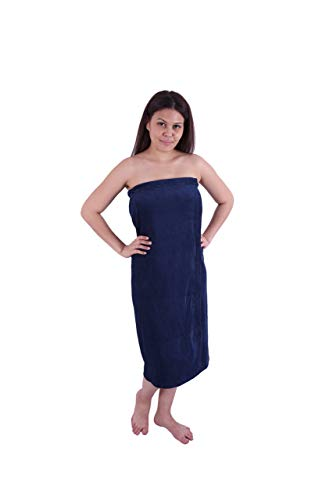 (Long Size Velour (Extra Soft) Women`s Body Wrap, Shower & Bath, Terry Spa Towel, Made in Turkey, Navy Blue)