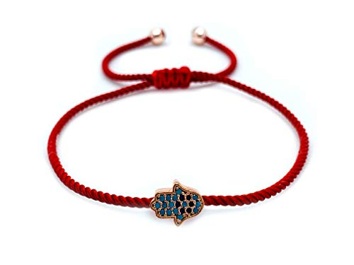 (Sententia Jewelry Handmade Adjustable String Hamsa Hand of Fatima Bracelet for Women Jewelery I Red, Blue, Black Braided String I (Red) )