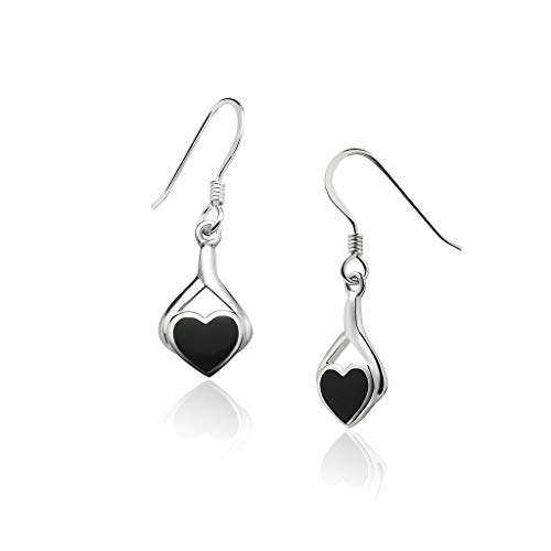 Big Apple Hoops - Genuine 925 Sterling Silver ''Heart of Love'' Cute & Comfort Simulated Black Onyx Inlay Dangle Hook Earrings | Dainty, Delicate and Perfect Design