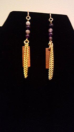 Amethyst and Rose Wood Earrings