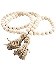 Vosarea Wood Bead Garland with Tassels Farmhouse Beads Rustic Country Decor