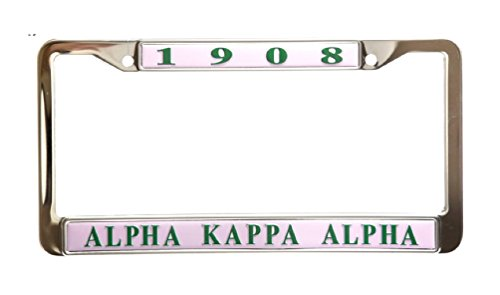Alpha Kappa Alpha Sorority Pink Stainless Steel License Plate Frame (License Greek Frame Plate)