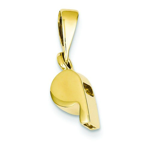 14K Yellow Gold 3D Sports Whistle Pendant Referee Charm
