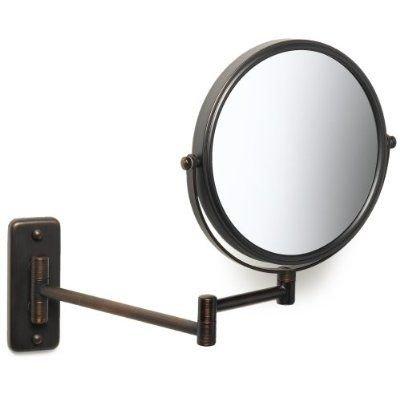 "SeeAll 8"" Makeup Vanity Mirror, Oil-Rubbed Bronze, Dual Arm, Wall Mount, 7X Optics"