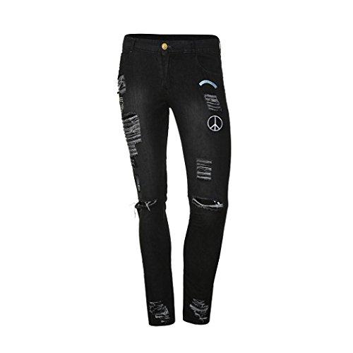 Jeans Pants Black Men Denim Jeans Skinny Mens Casual Zipper Distressed Slim Frayed Trousers Biker Bovake Rip 8ZPAwtqw