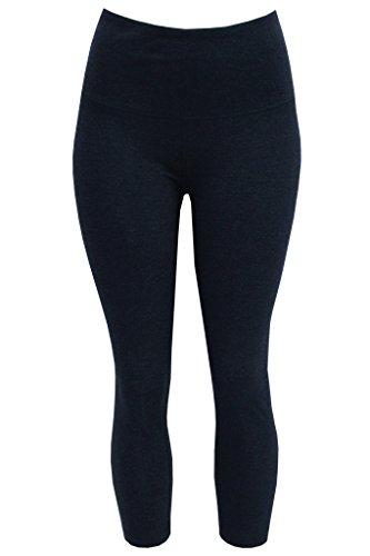 90 Degree by Reflex - Hight Waist Cotton Power Flex Capri - Heather Slate Grey Medium (Adult 6 Pocket Pant)
