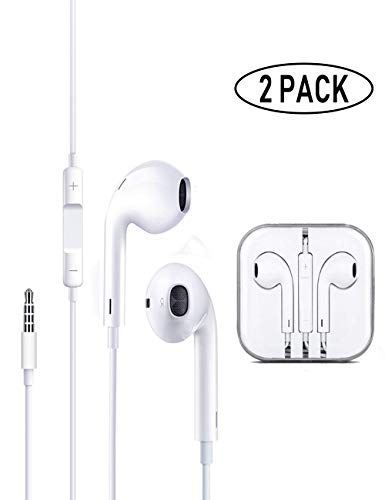 Earbuds/Earphones/Headphones, Premium in-Ear Wired Headphones with Remote & Mic Compatible iPhone 6s/plus/6/5s/se/5c/iPad/Samsung/MP3(White 2Pack)