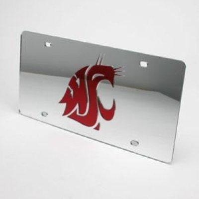 Washington State Cougars Inlaid Acrylic License Plate - Silver Mirror Background