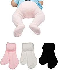 Baby Toddler Girls Tights 3 Pack Knit Cotton Leggings Pants for Infant Girl Stockings 0-4 Years