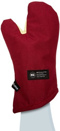 "San Jamar KT0215 Kool-Tek Nomex Conventional Temperature Protection Oven Mitt, 15"" Length, Red"