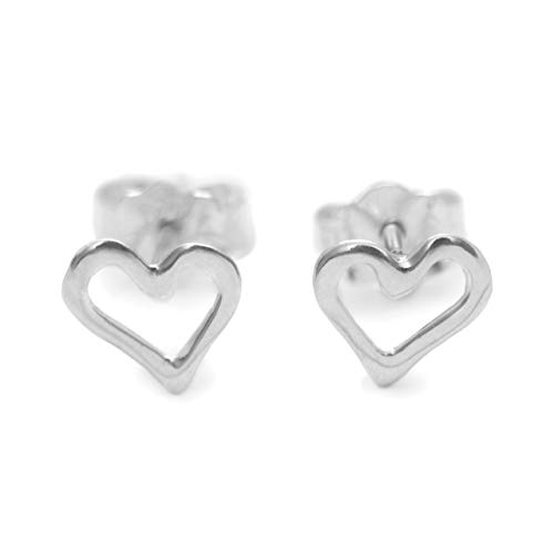 Mini Heart Post Earrings - Mini Open Hollow Heart Stud Post Handmade Earrings, Sterling Silver 925 Polished Finish (7 mm). Perfect Small Gift