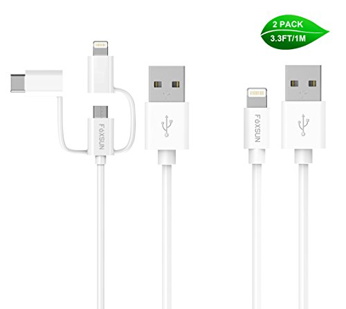 Foxsun Multi USB Charging Cable,3.3ft/1m 3-in-1 USB Charging Cable with Type C/8Pin Lighting/Micro USB Connector + Single Lightning Cable MFi Certified for iPhone,iPad and Android Devices-White