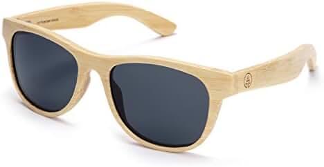 Tree Tribe Classic Wayfarer Bamboo Sunglasses - Polarized Lens + Hard Case