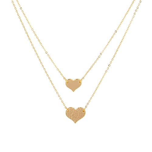 Mevecco Layered Heart Pendant Necklace,14k Gold Plated Love 2 Heart Love Tiny Dainty Layering Pendants Necklaces Jewelry Gift for Women Girls ()