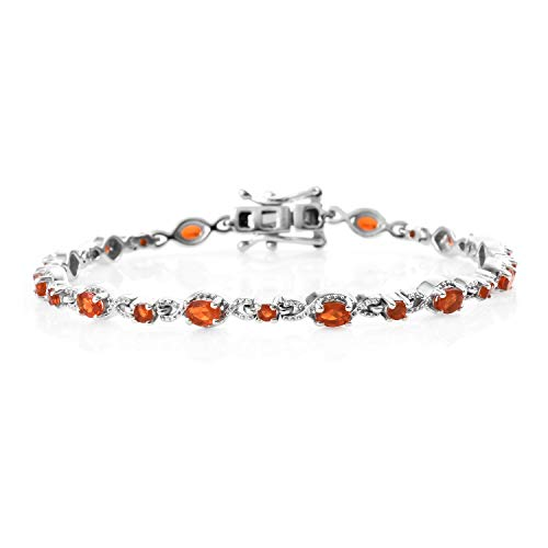 - Oval Fire Opal Bracelet 925 Sterling Silver Platinum Plated Jewelry for Women Size 7.25 & 7.25