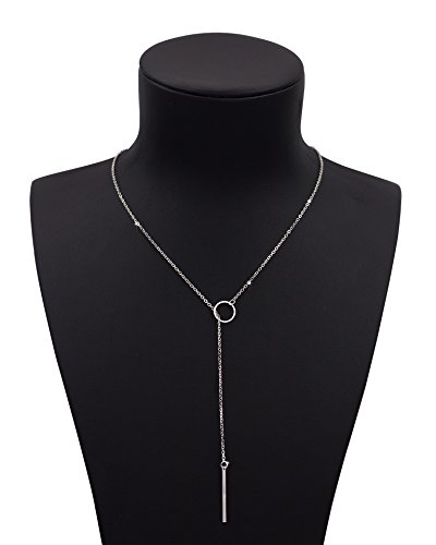 Geerier 1PC Women Pendant Bar Necklace Simple Y-Type Chain Ring Necklace Silver