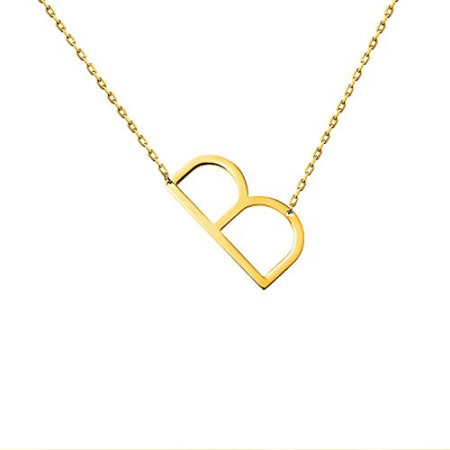 WIGERLON Stainless Steel Initial Letters Necklace for Women and Girls Color Gold and Silver from A-Z Letter B Color Gold