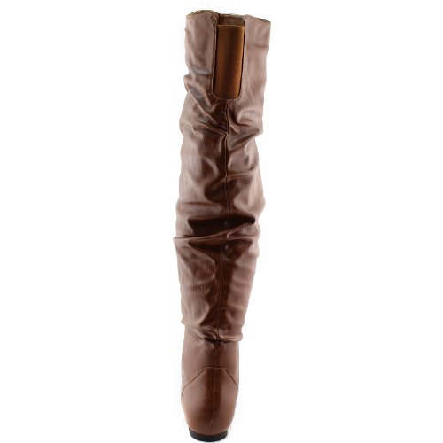 Nature Breeze Damen Overknee Slouchy Boots Tan Pu