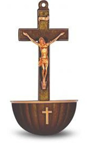 William Hirten Co Brown Crucifix Holy Water Font