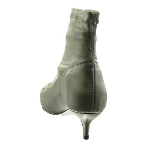 Souple Haut Femme Talon 5 Cm Aiguille Chaussure Gris Mode Angkorly Bottine xIqYwtTY1
