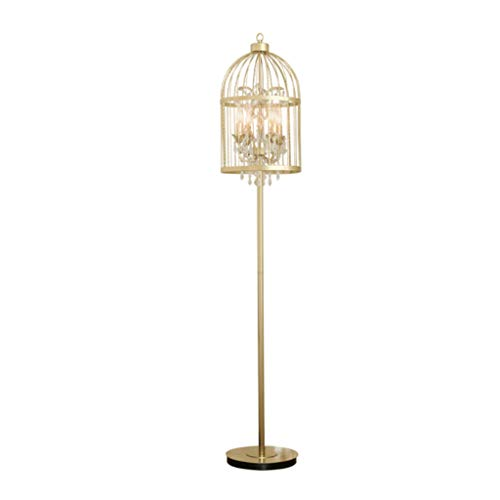 FORWIN Floor Lamp- American Wrought Iron Crystal Creative Champagne Gold Floor Lamp Living Room Bedroom Study Restaurant Villa Retro Bird Cage Lamp Indoor Lighting