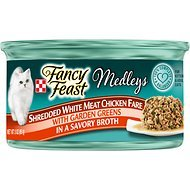 Fancy Feast Medleys Shredded White Meat Chicken Fare with Garden Greens in a Savory Broth, 3-oz, case of 24